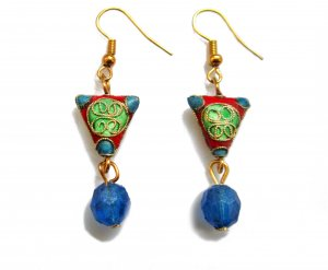 Chinese Shou Earrings in Water Blue