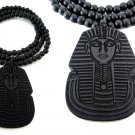 (PRE-ORDER) Men's Wooden Bead King Tut Pharaoh Pendant Necklace