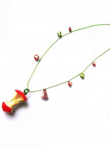 Teacher Approved: Vintage Red Enamel Apple Core Pendant Necklace
