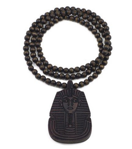 DARK BROWN Men's Wooden Bead King Tut Pharaoh Pendant Necklace