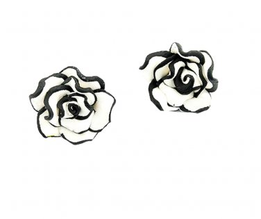 Tuxedo Rose Stud Earrings
