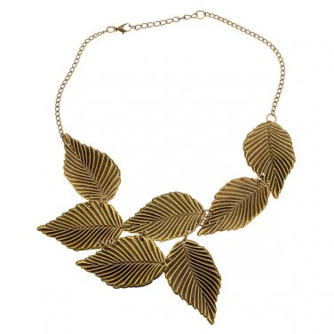 Metal Gold Leafed Leaf Necklace