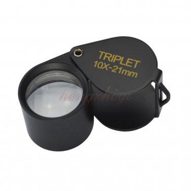 10X Jeweler Diamond Gem Triplet Loupe w 21MM Achromatic Aplanatic Lens + Leather Case, Free Shipping