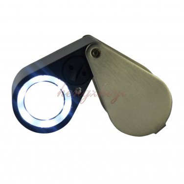 10X Diamond Gem Loupe w LED +UV Light + 21mm Achromatic Aplanatic Len + Leather Case, Free Shipping