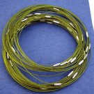 """Dark Green Cable Choker With Screw Head Barrel Clasp 18"""""""