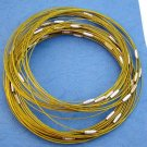 """Gold Cable Choker with Screw Head Barrel Clasp 18"""""""