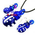 Blue Ladybug Necklace and Earring Set.