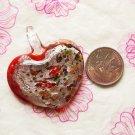 Silver Foil Murano Lampwork Glass Heart Pendant