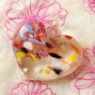 Lampwork Multi Color Gold Dust  Heart Pendant Necklace