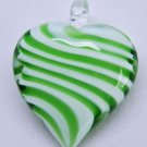 Green an White Stripe Heart Lampwork Glass Bead Pendant Necklace