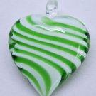 Green an White Stripe Heart Lampwork Glass Bead Pendant Necklace