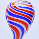 Red White and Blue Stripe Heart Lampwork Glass Bead Pendant Necklace