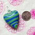Green and Blue Heart Lampwork Murano Glass Bead Pendant Necklace
