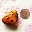 Orange Dalmation Heart Lampwork Murano Glass Bead Pendant Necklace