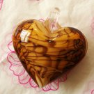 Amber Heart Lampwork Murano Glass Bead Pendant Necklace