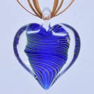 Dark Blue Tornado Heart Lampwork Murano Glass Bead Pendant Necklace