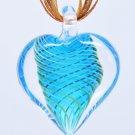 Blue Tornado Heart Lampwork Murano Glass Bead Pendant Necklace