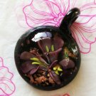 Murano Lampwork Glass Inside Flower Pendant Necklace