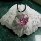 Murano Handmade Lampwork Glass Inner Flower Heart Pendant Necklace