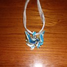 Gold Dust Blue and White Handcrafted Murano Lampwork Glass Pendant Necklace