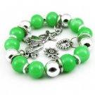Green Glass Beads Dangle Stretch Bracelet Bangle