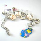 Fashion White Lampwork Glass Link Bracelet Bangle