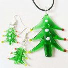 Christmas Tree Murano Lampwork Glass Necklace earring set