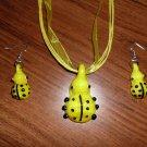 Yellow Ladybug Necklace and Earring Set