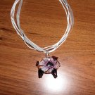 Handcrafted Murano Lampwork Glass Flower Pig Pendant.