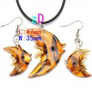 Fish Lampwork Glass Necklace Pendant Earring Set