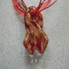 Handmade Gold Sand Lampwork Pendant Necklace, Awareness Ribbon