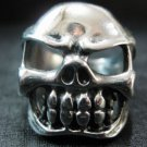 PUNK gothic MEN'S biker skull head silver stainless steel cool PARTY ring size 11
