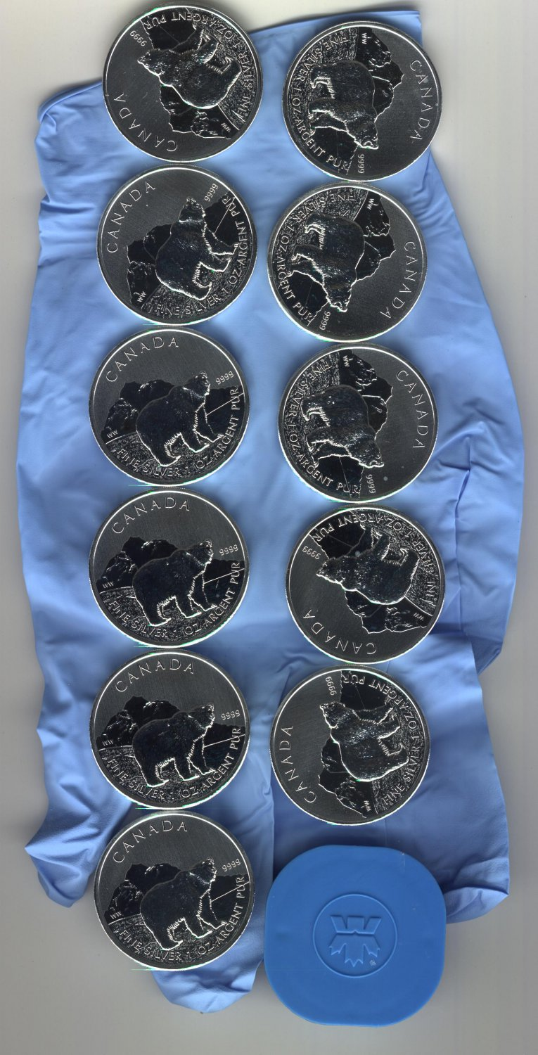 2011 CANADIAN GRIZZLY BEARS X23 1 OZ .9999 SILVER $5 COIN