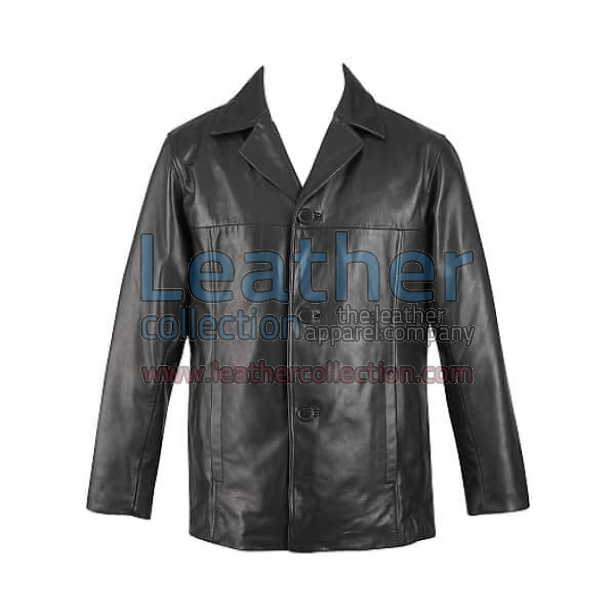 3 Button Mens Leather Blazer