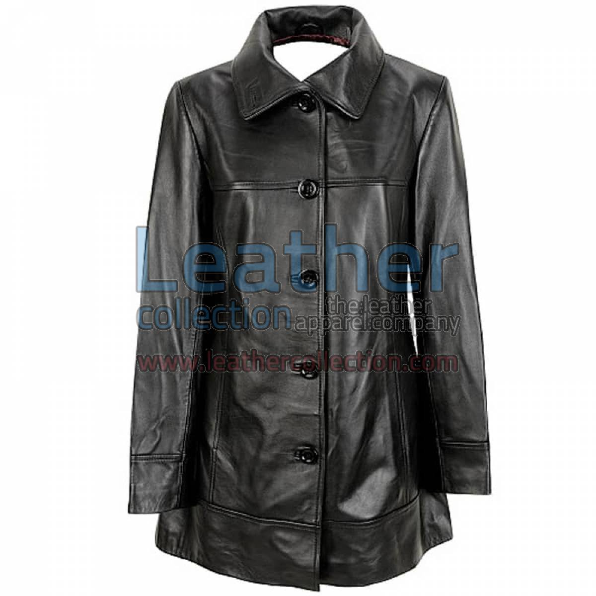 6 Button Leather Coat