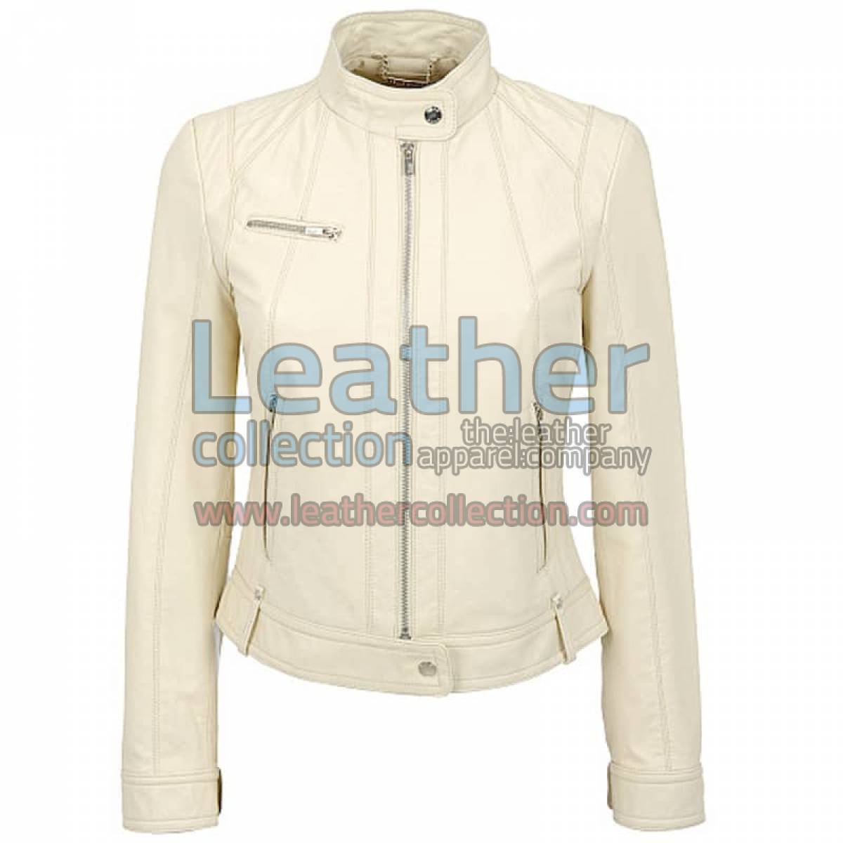 Banded Collar Washed Leather Scuba Jacket in White