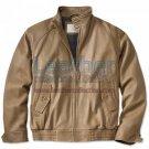 Beige Leather Bomber Jacket