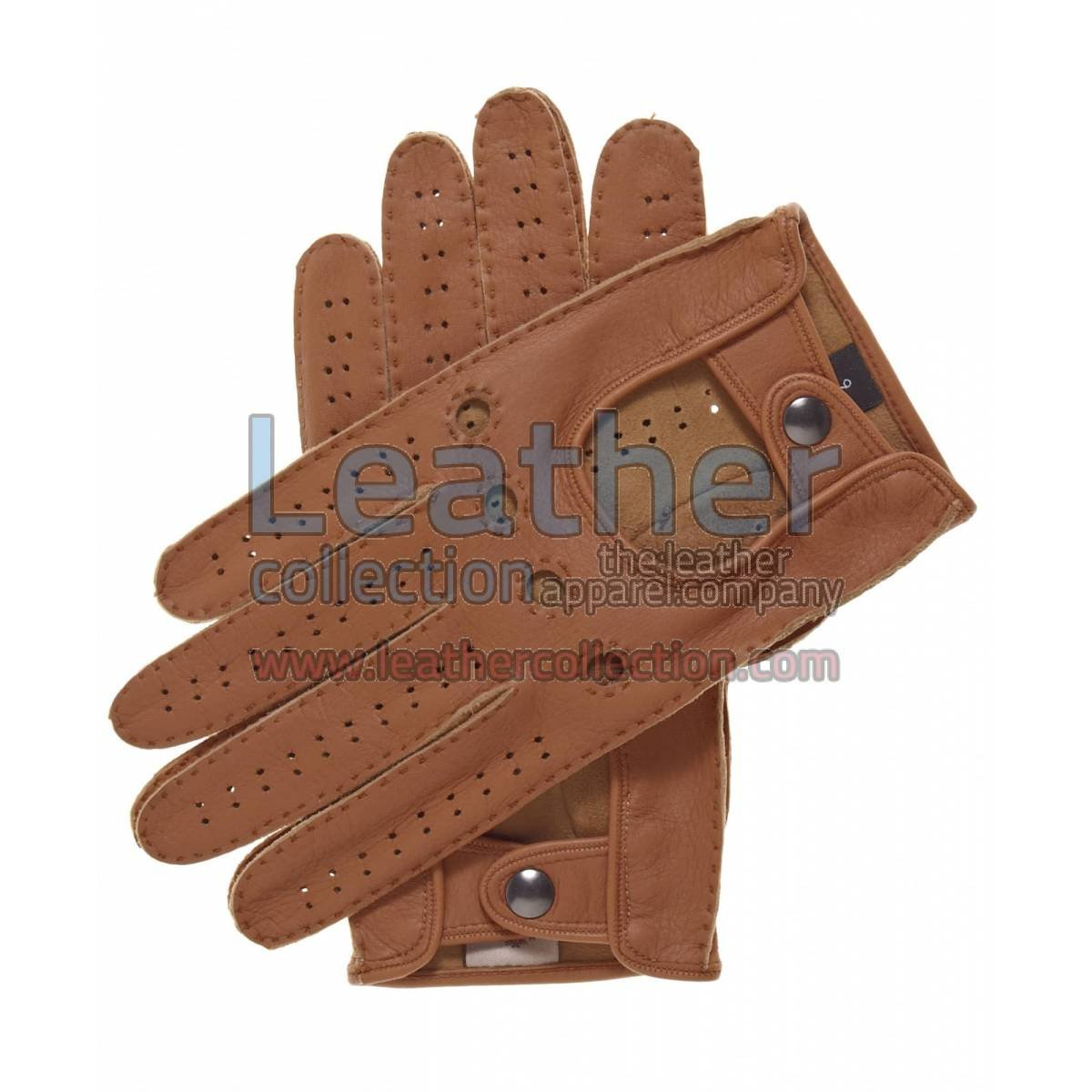Beige Mens Driving Leather Gloves