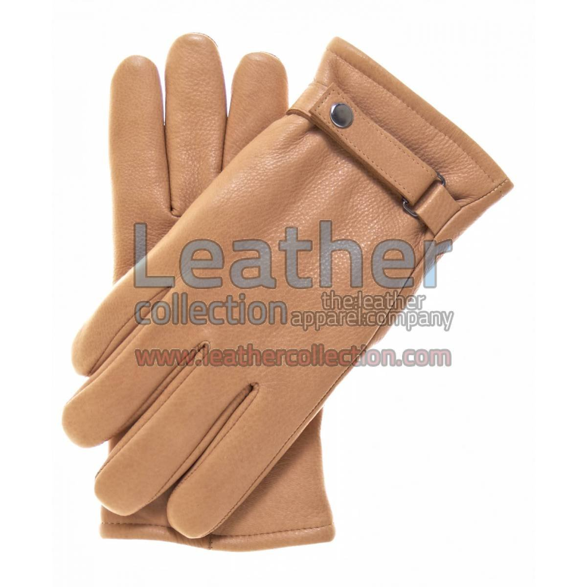 Beige Tough Leather Gloves With Thinsulate Lining