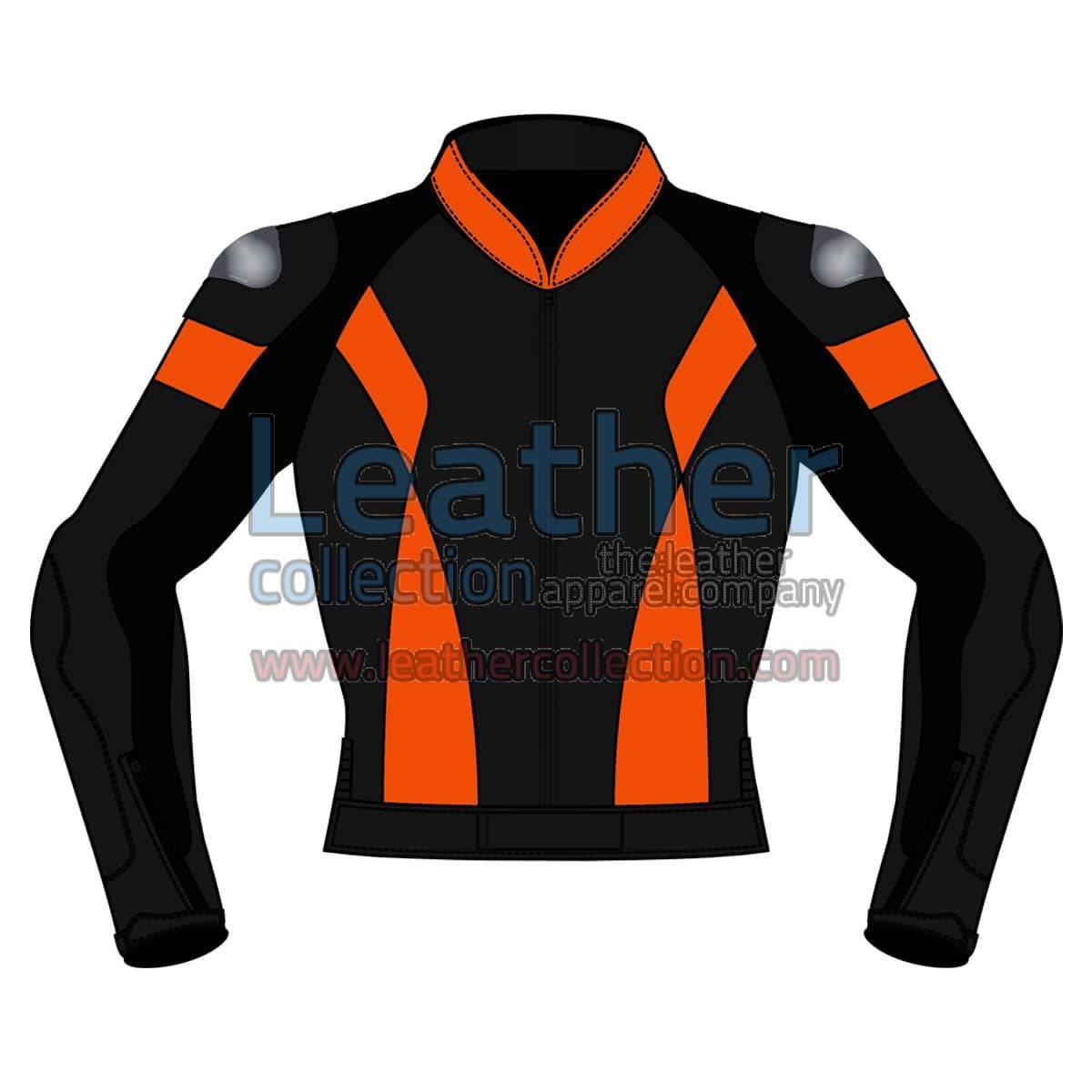 Bi Color Motorbike Leather Jacket For Men