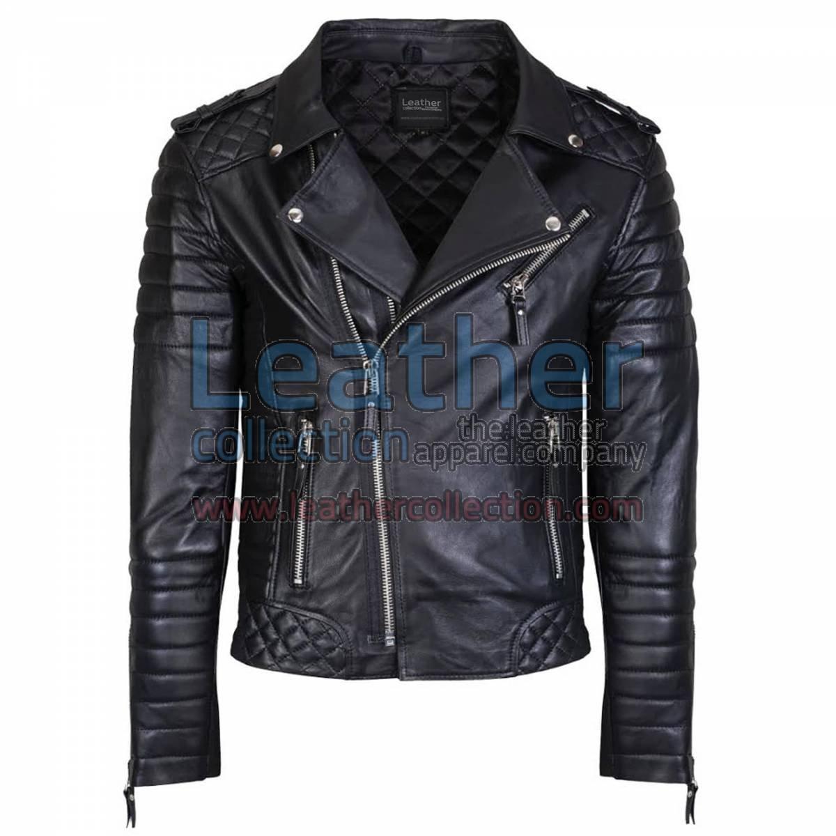 Biker Men Black Quilted Leather Jacket