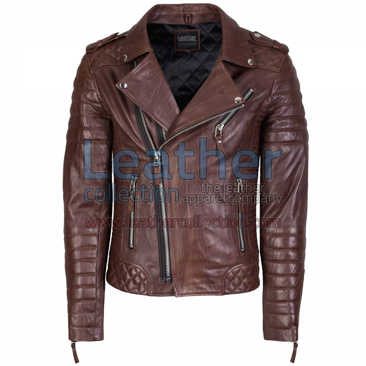 Biker Men Brown Quilted Leather Jacket