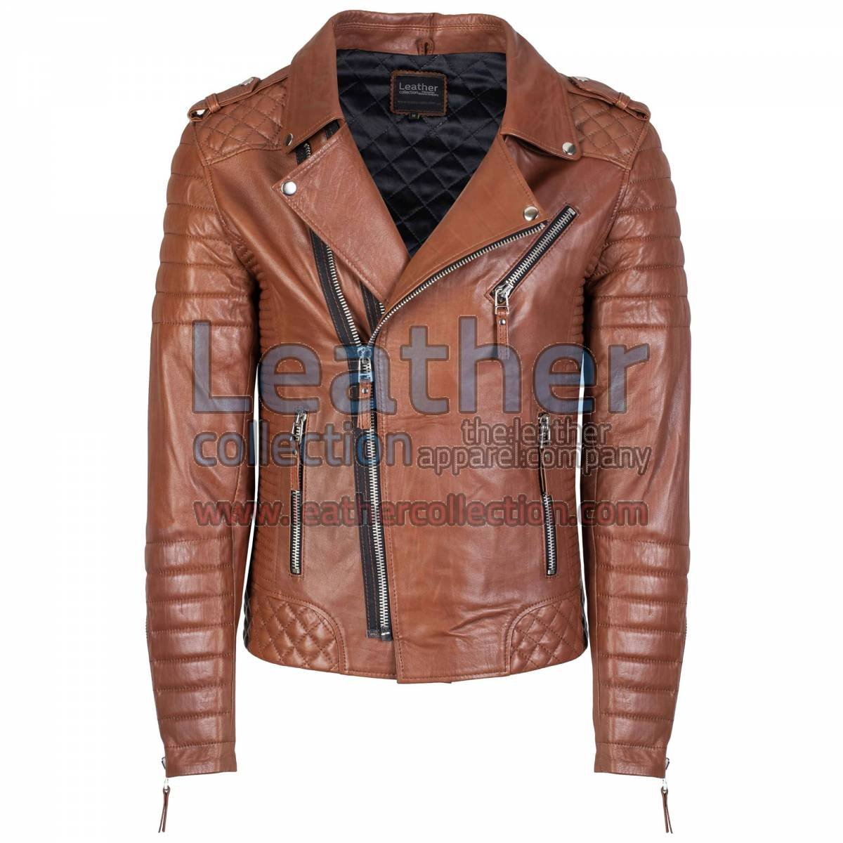 Biker Men Quilted Leather Jacket Antique Brown