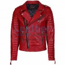 Biker Men Red Quilted Leather Jacket
