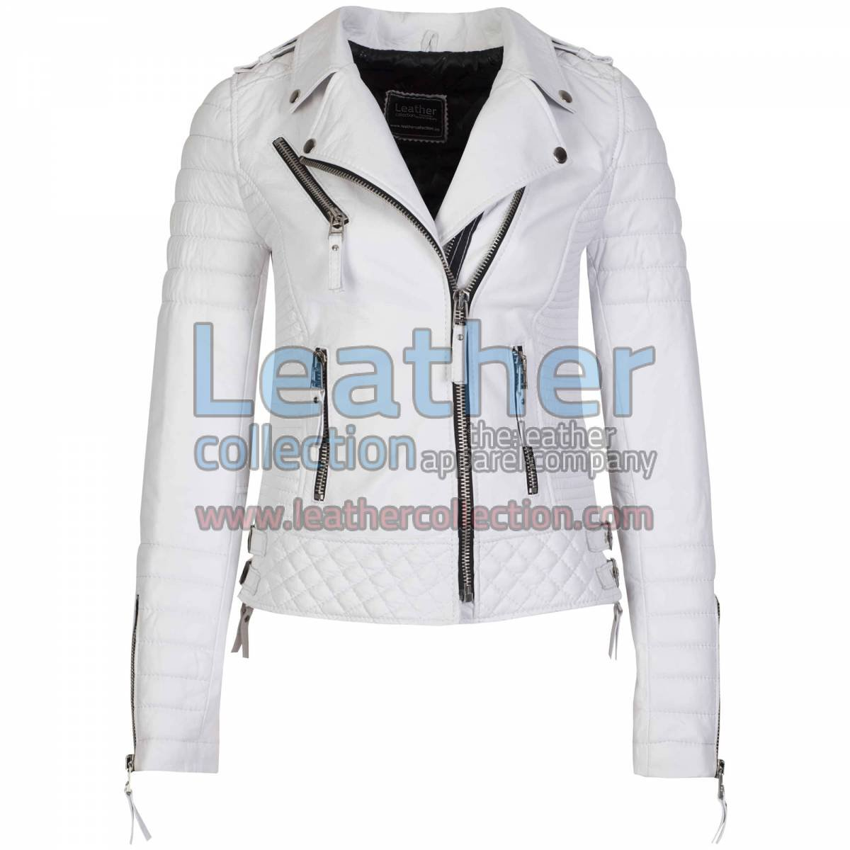 Biker White Leather Quilted Jacket Women