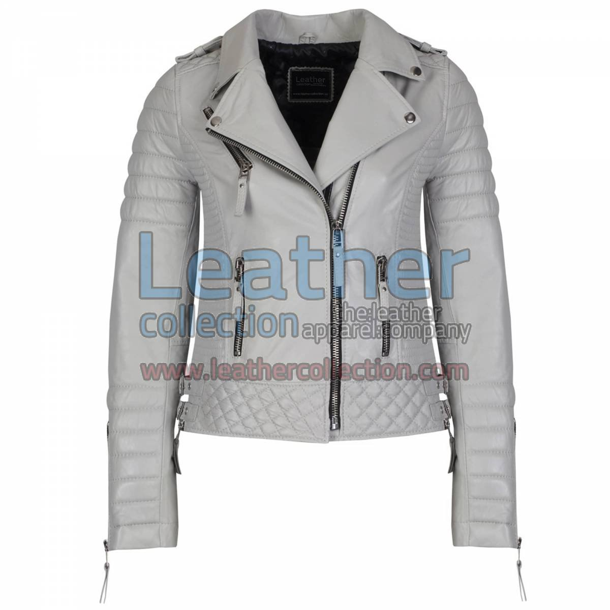 Biker Womens Grey Quilted Leather Jacket