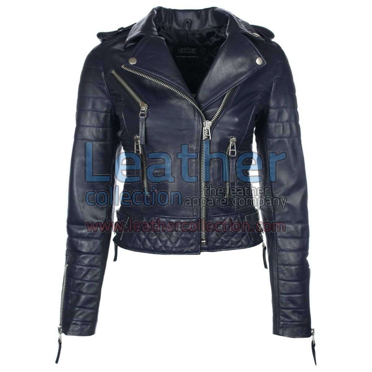Biker Womens Navy Quilted Leather Jacket