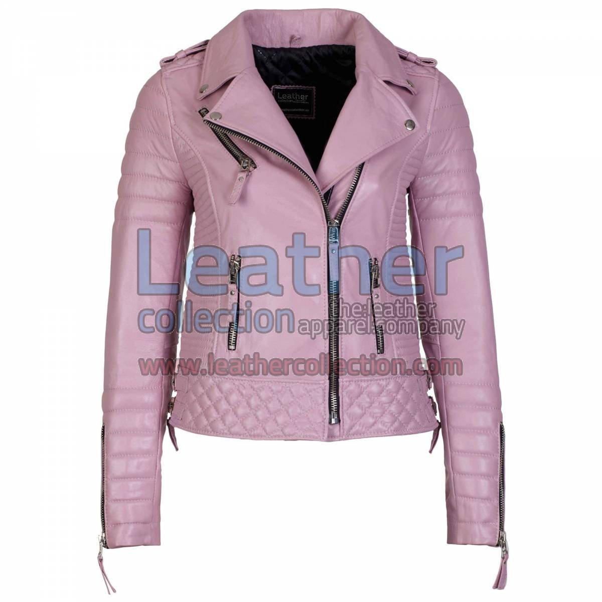 Biker Womens Pink Quilted Leather Jacket