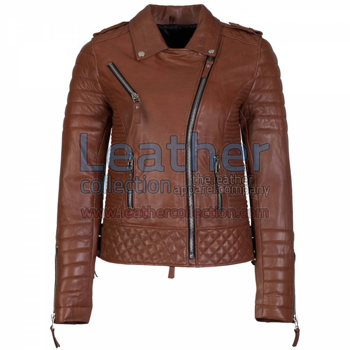 Biker Womens Quilted Leather Jacket Antique Brown