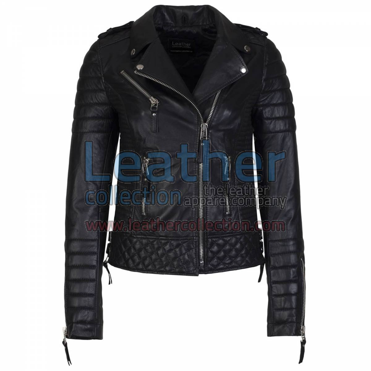Biker Womens Quilted Leather Jacket Black